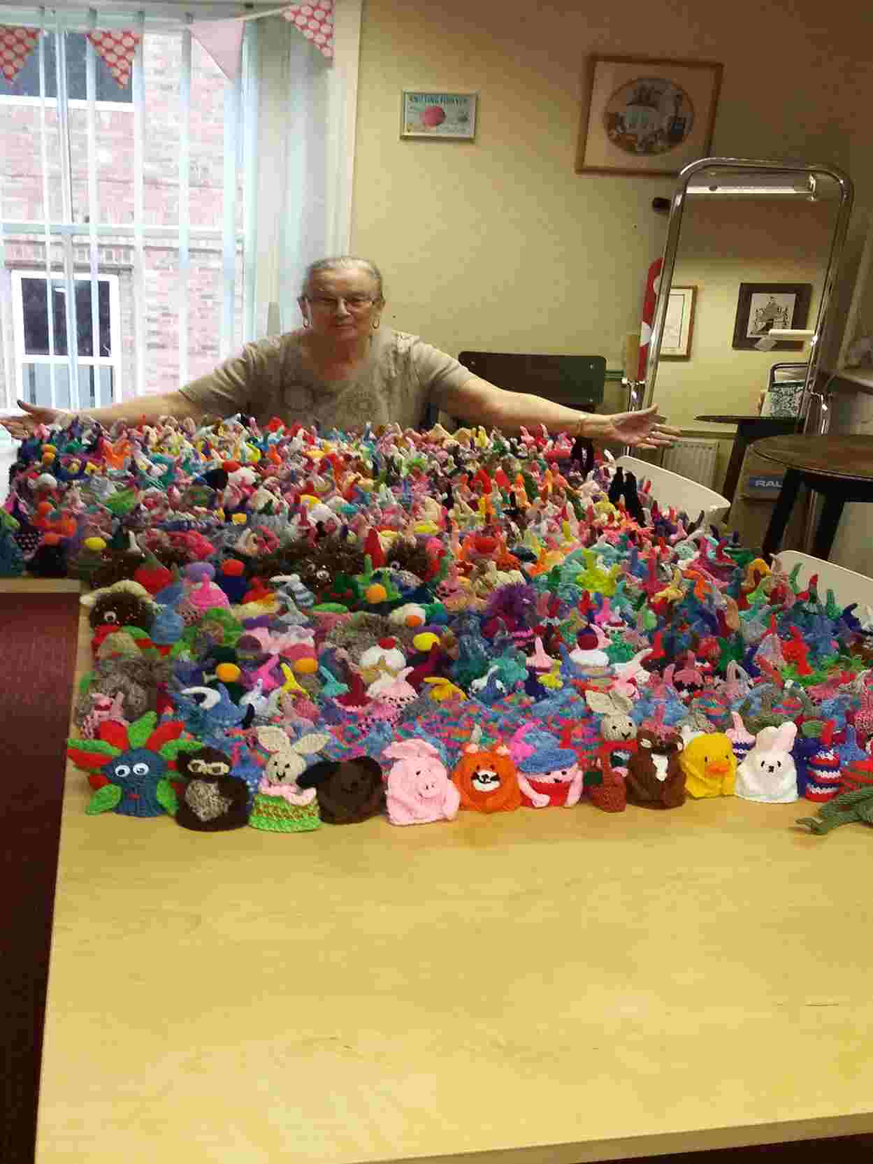 Over one thousand smoothie hats knitted by M&G Designs knitters for charity age uk